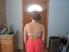 My prom hairstyle! French braid in the back with a bun to the side