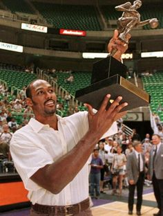 June 1999 - Utah's Karl Malone becomes the ninth player in NBA history to win the Maurice Podoloff trophy twice when he is named the leagues MVP for the season. He previously won the award for his play during the season. Nba Mvps, Magic Johnson Lakers, North American Soccer League, Reggie Miller, Eastern Conference Finals, Karl Malone, The Pacer, World Cup Champions, Kareem Abdul Jabbar