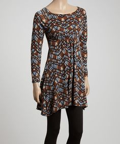 This Blue & Black Mosaic Cinched Tunic is perfect! #zulilyfinds