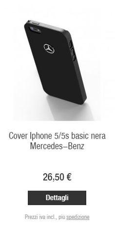 Dettagli  Custodia per iPhone ® 5/5S Basic di colore nero. In materiale sintetico, con logo centrale Mercedes-Benz, è la cover perfetta per uno stile sobrio ed elegante che indica passione.