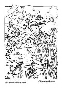 Kleurplaat Japan, kleuteridee.nl , Japan coloring, free printable