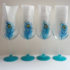 Peacock party hand painted wine glasses by GlassesbyJoAnne on Etsy, $80.00