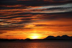 Hurtigruten, sunset in Norway
