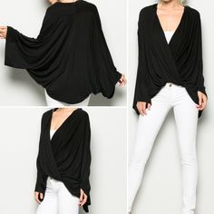 Goddess of Justice... Astraea Obsidian Blouse. Knit front cross-over. Dolman,wide bell shaped sleeve. $48SML Forgiving fit.        FREE SHIPPING | Shop this product here: http://spreesy.com/blacqskirt/53 | Shop all of our products at http://spreesy.com/blacqskirt    | Pinterest selling powered by Spreesy.com