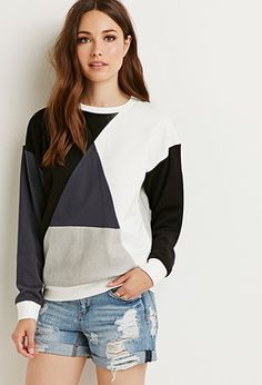 I actually like this sweatshirt. Contemporary Geo-Colorblocked Reverse Terry Sweatshirt from Forever 21