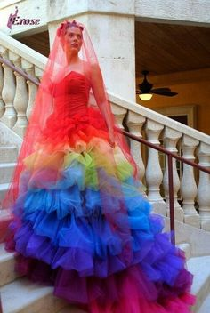 Rainbow wedding gowns online shopping-the world largest rainbow ...
