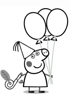 Peppa Pig with Ballons coloring page from Peppa Pig category. Select from 25935 printable crafts of cartoons, nature, animals, Bible and many more.