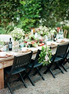 Lovely farm #tablescape for an al fresco dinner party | Photography: http://loveisabird.com | Floral Design: http://panaceaflowery.com