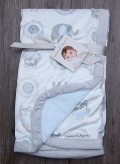 Blankets & Beyond Soft Baby Blanket ~ Elephants & Owls ~ Gray, Blue & White ~ #Blankets&Beyond #BabyBoy #Elephants #Owls