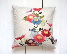 Beautiful hand painted floral cushion. Vintage Japanese Silk Kimono Cushion Pillow Hand Painted Floral 'Chrysanthemums'. House warming gift