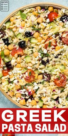 This healthy salad is incredibly easy make and ready in 25 minutes or less! It's filled with fresh flavors and finished with a creamy hummus dressing (NO MAYO)! It is perfect as side dish or a vegetarian main, and easily customizable with your favorite ingredients! Supper Recipes, Lunch Recipes, Breakfast Recipes, Vegetarian Recipes, Healthy Recipes, Greek Orzo Pasta Salad Recipe, Greek Pasta, Salads Up, Cucumber Recipes
