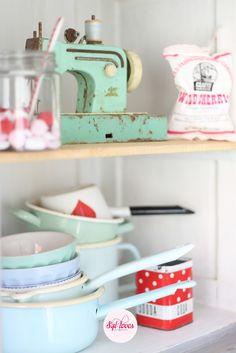 Syl loves, happy kitchen, pastel red, white, retro, minty mint, vintage, Krasilnikoff