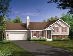 Split level...1285 sq ft. 3bed, 2bath. 62x34 foot print. Shave off garage, make deck to wrap around the kitchen and add a window, move washer and dryer to half wall area by bedrooms, define entry area from living space with half wall, lowest level for utilities family room and guest suite.