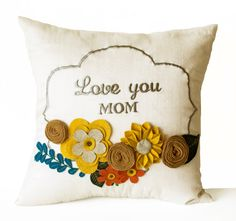 Decorative Pillow Cover Flower Pillow Floral Love by AmoreBeaute