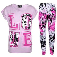 Kids Girls Top LOVE T Shirt & Splash Print Fashion Legging Set Age 7-13 Years. Available Color; Black, Baby Pink, Neon Pink & White. A Great, Nice And Perfect Outfit For Girls. Love Printed On The Front Of The Top. Available Size; 7-8 Years, 9-10 Years, 11-12 Years & 13 Years. Kids Girls LOVE Print T Shirt Top & Splash Print Fashion Legging Set. - clothing, men, comfy, for work, emo, cool clothes *ad