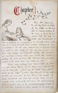 Illustrations of Alice by Lewis Carroll in an early iteration of Alice's Adventures in Wonderland.