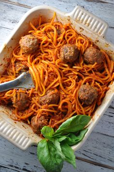 You'll never make traditional spaghetti and meatballs again. This lightened recipe combines butternut squash noodles with tender meatballs and savory red sauce for a healthy meal that tastes downright naughty. Every family needs a reliable spaghetti and meatball recipe, and it's a happy bonus that this one is light and lean!