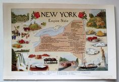 1912 New York Color Map Illustrated Art Attractions History, Industries Etc. #Realism