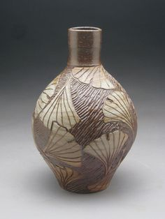Wood and Salt Fired Bottle with Hand Carved Ginkgo Leaves