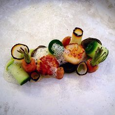 Scallop with cucumber, apple, avocado, carrot and onion. - The ChefsTalk Project
