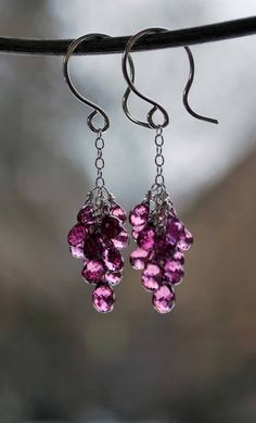 Pink Tourmaline Dangle Cluster Earrings with by meadowsjewelry, $78.00