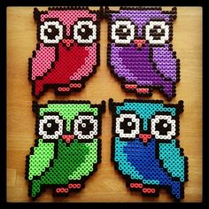 Colorful owls hama beads by tutluva. Good for crochet pixel blanket Perler Bead Designs, Hama Beads Design, Diy Perler Beads, Perler Bead Art, Owl Perler, Melty Bead Patterns, Pearler Bead Patterns, Perler Patterns, Beading Patterns