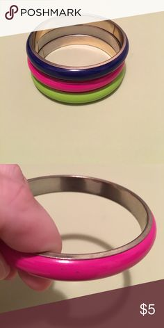 Forever 21 bangles A few spots as shown in photo where paint has chipped. Not very noticeable though. Forever 21 Jewelry Bracelets