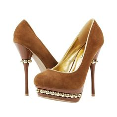 Liliana Zoey Brown Beaded Embellished Triple Platform High Heel... ❤ liked on Polyvore featuring shoes, pumps, heels, brown, brown shoes, brown pumps, special occasion shoes, evening pumps and brown high heel shoes