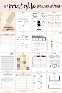 Interactive and personal social media branding and post content workbook + planner. Helps to stay on track and plan your posts in advance. Social Media Planner, 29 Printable Pages