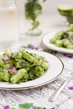 Cucumber mint salad - love the complementary colours in the tablecloth/napkin and the pop of red onion in the salad.