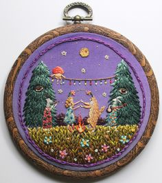 Irem Yazici, Celebration in the Forest, Hand Stitch. Modern Embroidery, Embroidery Hoop Art, Hand Embroidery Patterns, Cross Stitch Embroidery, Embroidery Shop, Embroidery Techniques, Sewing Crafts, Needlework, Illustrations