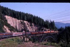 Photo I took in July 1978 crossing the Stoney Creek Bridge in the Rogers Pass while working  eastbound  Canadian J Cowan photo note 2200-series