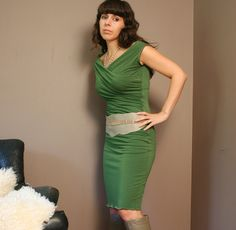 shirred bamboo dress with boatneck   - made to order. $90.00, via Etsy.