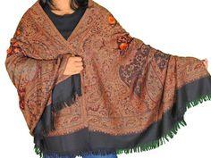 "Black Brown Embroidered Warm Scarf - Jamawar Paisley Wool Shawl Afghan 80"""