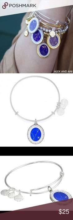 Alex and Ani Pisces Celestial Wheel Charm Bangle Add to your arm candy with this gorgeous Authentic Alex And Ani Bangle in silver with a royal blue Pisces charm. Brand new with tags attached and in its box, comes with the shopping bag as well. Perfect gift or gift for yourself! 💙 Alex & Ani Jewelry Bracelets