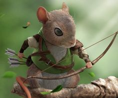 ArtStation - The Rodents(Archer_Mouse) , Bumoun Lee Game Character Design, Character Concept, Character Art, Concept Art, Cute Fantasy Creatures, Magical Creatures, Cute Characters, Fantasy Characters, Happy Squirrel
