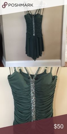 BCBG Dress Worn once for homecoming, fitted with pretty sequin detail BCBG Dresses Asymmetrical