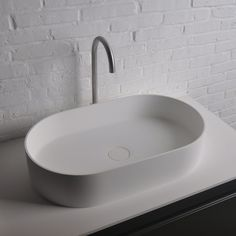 Ideavit Thin Oval Solid Surface Vessel Sink Bowl Above Counter Sink Lavatory for Vanity Cabinet - Modern Above Counter Bathroom Sink, Bathroom Sink Bowls, Small Bathroom Sinks, Bathroom Design Small, Vanity Bathroom, Bathrooms, Bamboo Bathroom, Design Kitchen, Small Vessel Sinks