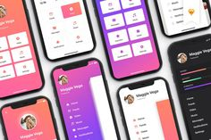 Menu - mobile ui kit for iphone x by ho design bundles. Mobile Ui, Web Design, Flat Design, Login Design, Design Templates, Ui Kit, App Ui, Mobile Design, User Interface