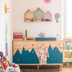 But with just some paint the chest of drawers has been transformed in to a playful piece for any kids room.