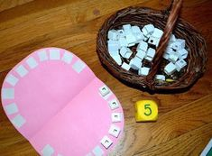 Counting teeth center with blocks!  Great for kindergarten or preschool math center!