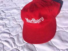 2c524f17e09 Vintage Red Corduroy Marlboro Snapback Hat 1970 s Cigarette Swag