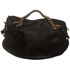 Pre-owned Michael Kors Chain Strap Hobo Bag ($100) ❤ liked on Polyvore featuring bags, handbags, shoulder bags, black, black purse, black gold purse, black handbags, michael kors purses and black hobo purse