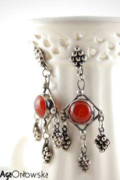 #earrings - inspired by Afghan art, silver and carnelian