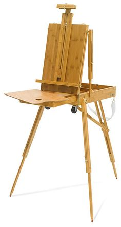 Bamboo French Sketchbox Easel, $107.99 pros: well priced, foldable, bamboo (eco-friendly material), good for indoor and outdoor, drawers to hold paint, has wheels cons: looks intimidating