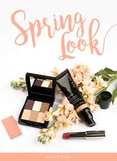 Get glammed up for a girls' night out with natural shadow, light blush and a bold lip. Click to browse this spring makeup look! | Mary Kay
