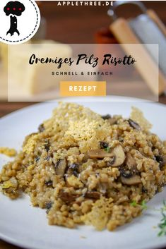 Cremiges Pilz Risotto - My list of the best food recipes Parmesan Chips, Creamy Mushrooms, Stuffed Mushrooms, Stuffed Peppers, Vegetarian Recipes, Healthy Recipes, Vegetarian Dish, Easy Recipes, Risotto Cremeux