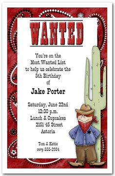Western Most Wanted CowboyParty Invitation, Barbecue Invitations