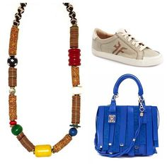 Back to school and everyday style with our Empire State Finery Clark necklace, Frye shoes and fun blue Sara Battaglia bag