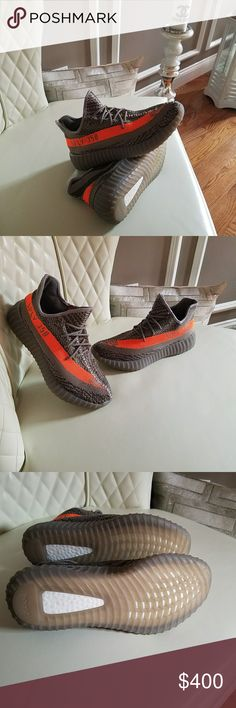 Mens Adidas Yeezy 350 Boost sneakers size US 8.5 9 New Mens Adidas Yeezy 350 Boost sneakers size US size US size 8.5 will fit US 9 Grey Orange adidas Shoes Sneakers